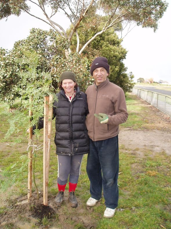 Colleen and Albert from Fifteen Trees plant their 10,000th tree on National Tree Day. © Colleen Filippa