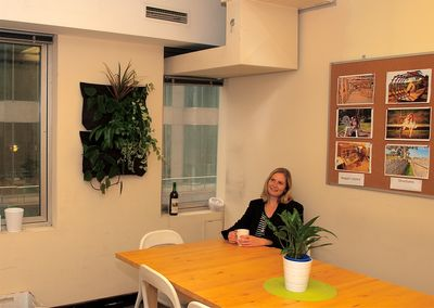 After Shot Sara on Tea Break in Kitchen with VG © Planet Ark